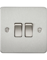 KnightsBridge 2G 2 Way Flat Plate Switch- Brushed Chrome