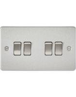 KnightsBridge 4G 2 Way Flat Plate Switch - Brushed Chrome
