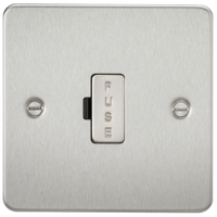 KnightsBridge 13A Fused Spur Unit Flat Plate - Brushed Chrome
