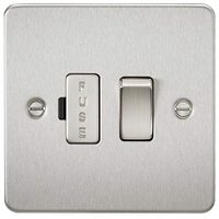 KnightsBridge 13A Switched Fused Spur Unit Flat Plate - Brushed Chrome