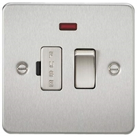 KnightsBridge 13A Switched Fused Spur with Neon Flat Plate - Brushed Chrome