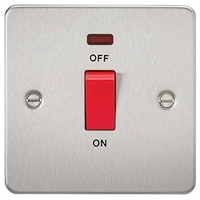 KnightsBridge 45A 1G DP Switch with Neon Flat Plate - Brushed Chrome