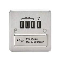 KnightsBridge 1G Quad USB Flat Plate - Brushed Chrome