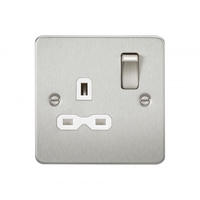 KnightsBridge 1G DP Switched Flat Plate Socket - Brushed Chrome, White Insert