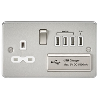 KnightsBridge Socket with Quad USB Flat Plate - Brushed Chrome, White Insert
