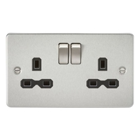 KnightsBridge 13A 2G DP Switched Flat Plate Socket - Brushed Chrome