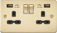 KnightsBridge 13A 2G Switched Socket with Dual USB Flat Plate - Brushed Brass, Black Insert