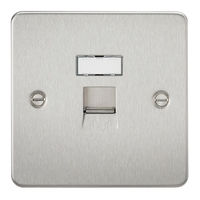 KnightsBridge RJ45 Network Outlet Flat Plate - Brushed Chrome