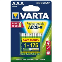 Varta 800mAh AAA Rechargeable Batteries - 4 PACK