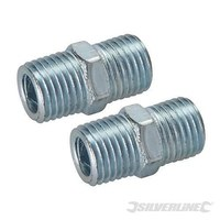 "Silverline 1/4"" BSPT Air Line Equal Union Connector - 2 PACK"