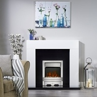 Focal Point Lulworth LED Electric Fire - Brushed Metal Effect