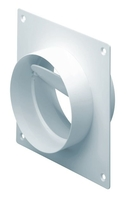 "Domus 4"" Rigid Duct Straight Connector with Damper & Wall Plate"