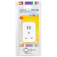 Status UK to EU Travel Adaptor with 2 x USB
