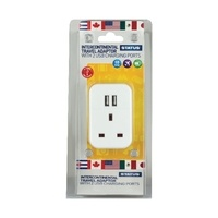Status UK to Intercontinental Travel Adaptor with 2 x USB