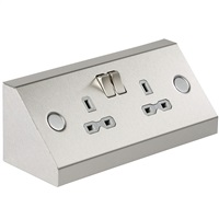 KnightsBridge 13A 2G Mounting DP Switched Socket Stainless Steel with Grey Insert