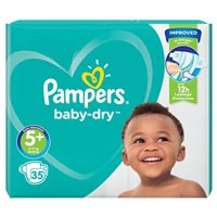 Pampers Baby Dry Nappies Size 5+ Essential Pack - 35 Nappies