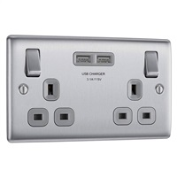 BG 2G USB Switched Socket - Brushed Steel