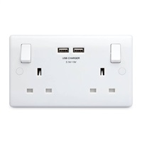BG 2G USB Switched Socket - White