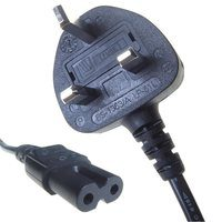 Connekt Gear Black 5A UK Mains Plug Top to IEC C7 Figure of 8 TV Power Cord Cable