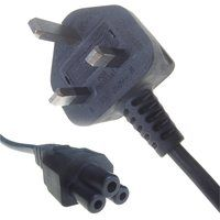 Black 5A UK Mains Plug Top to IEC C5 Cloverleaf TV Power Cord Cable by Connekt Gear