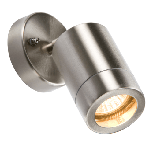 KnightsBridge Adjustable IP65 Lightweight Stainless Steel Indoor Outdoor Single Wall Light  - Click to view a larger image