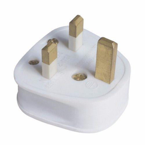 Zexum 13A White Plastic Electrical Safety UK 3 Pin Plug Top  - Click to view a larger image