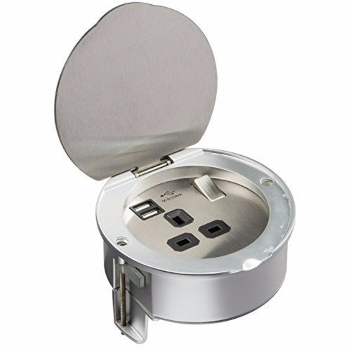 KnightsBridge 13A 1G Stainless Steel Recessed Desk Top and Floor Socket with Twin 5V USB Charger Ports  - Click to view a larger image