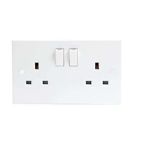 KnightsBridge 13A White 2G Twin 230V UK 3 Switched Electric Wall Socket
