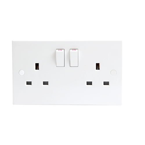 KnightsBridge 13A White Slimline 2G Twin 230V UK 3 Switched Electric Wall Socket  - Click to view a larger image