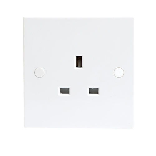 KnightsBridge 13A White 1G Single 230V UK 3 Pin Unswitched Electric Wall Socket  - Click to view a larger image