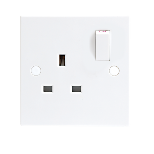KnightsBridge 13A White 1G Single 230V UK 3 Pin Switched Electric Wall Socket  - Click to view a larger image