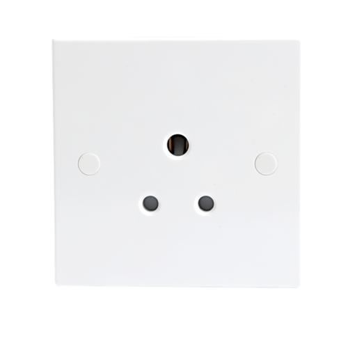 KnightsBridge 5A White Round Pin 1G Single 230V Unswitched Electric Wall Socket  - Click to view a larger image
