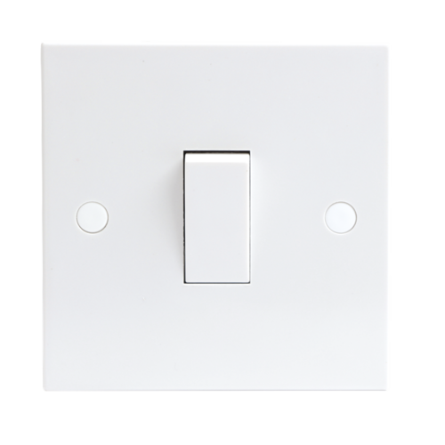 KnightsBridge 10A White 1G 1 Way 230V Electric Wall Plate Switch 1