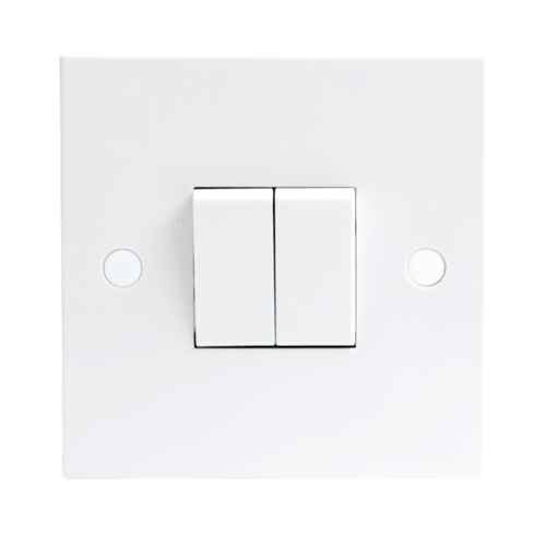 KnightsBridge 10A White 2G Twin 2 Way 230V Electric Wall Plate Switch  - Click to view a larger image