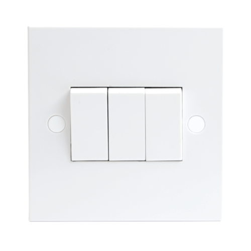KnightsBridge 10A White 3G 2 Way 230V Electric Wall Plate Switch  - Click to view a larger image