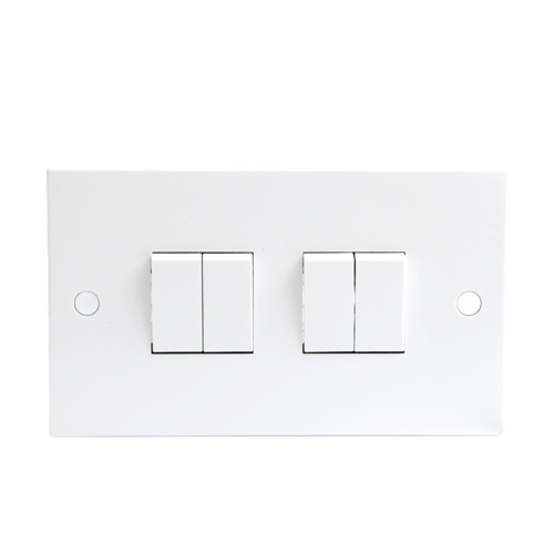 Caps Knightsbridge ST4100-10A 4G 2 Way White Wall Plate Switch with Screws