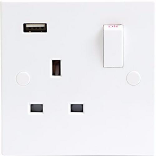KnightsBridge 13A White 1G 230V UK 3 Switched Electric Wall Socket & USB Charger Point  - Click to view a larger image
