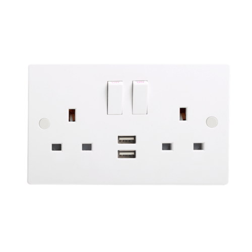 KnightsBridge 13A White 2G 230V UK 3 Switched Electric Wall Socket & 2 USB Charger Port  - Click to view a larger image