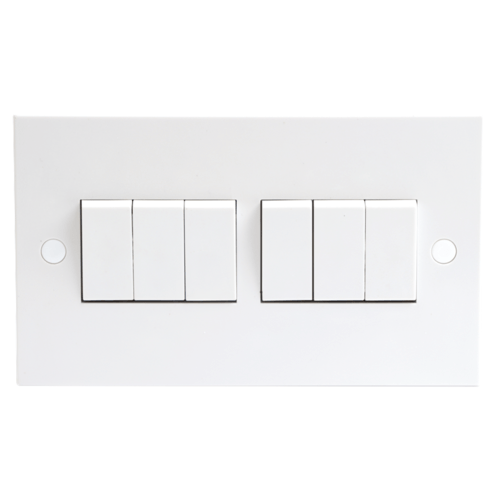 KnightsBridge 10A White 6G 2 Way 230V Electric Wall Plate Switch  - Click to view a larger image