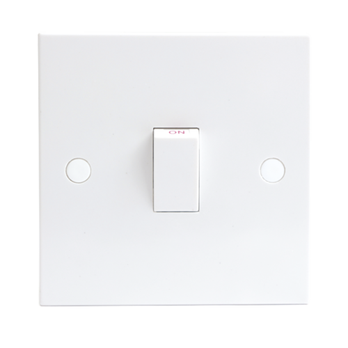 KnightsBridge 20A White 1G Double Pole 230V Electric Wall Plate Switch  - Click to view a larger image