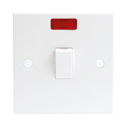 KnightsBridge 20A White 1G Double Pole 230V Electric Wall Plate Switch With Neon  - Click to view a larger image