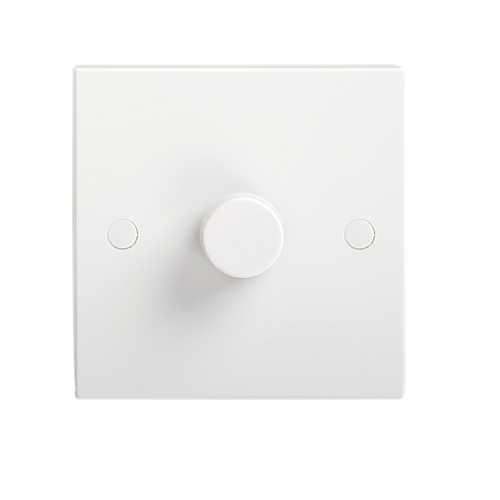 KnightsBridge 40-400W White 1G 2 Way 230V Electric Dimmer Switch Wall Plate  - Click to view a larger image