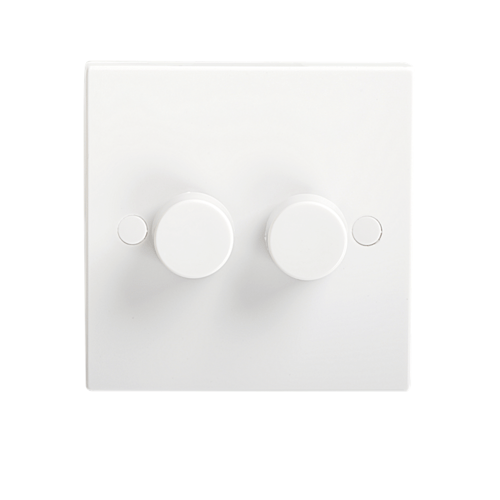KnightsBridge 40-400W White 2G 2 Way 230V Electric Dimmer Switch Wall Plate  - Click to view a larger image