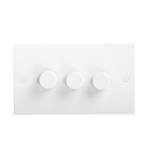 KnightsBridge 40-400W White 3G 2 Way 230V Electric Dimmer Switch Wall Plate  - Click to view a larger image