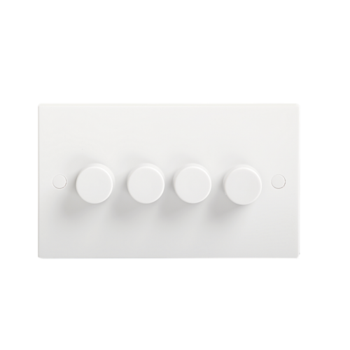 KnightsBridge 40-400W White 4G 2 Way 230V Electric Dimmer Switch Wall Plate  - Click to view a larger image