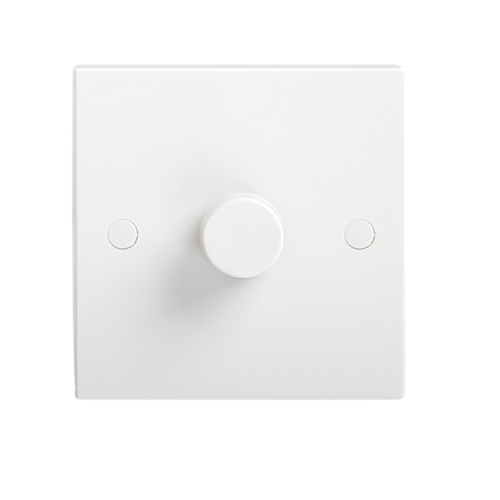 KnightsBridge 1000W White 1G 2 Way 230V Electric Dimmer Switch Wall Plate  - Click to view a larger image