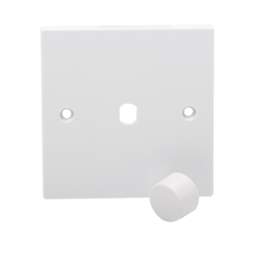 KnightsBridge 1G White Electric Dimmer Plate Electric Wall Switch with Dimmer Knob  - Click to view a larger image