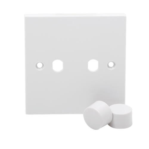 KnightsBridge 2G White Dimmer Plate Electric Wall Switch with 2 Dimmer Knobs  - Click to view a larger image