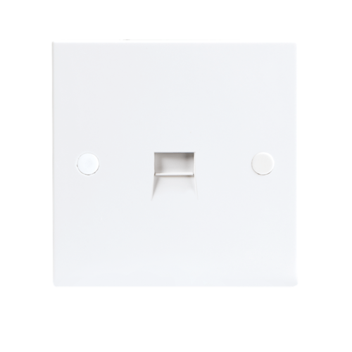 KnightsBridge 1G White Telephone Extension Socket Flush Wall Switch  - Click to view a larger image