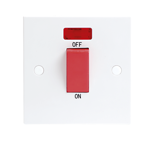 KnightsBridge 45A White 1G Double Pole 230V Electric Cooker Wall Plate Switch With Neon  - Click to view a larger image